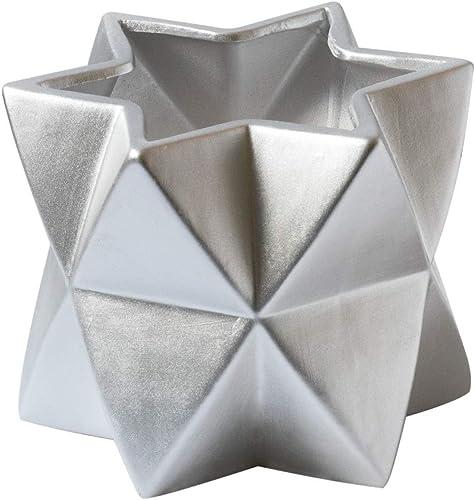 Ceramic Flower Vase Decorative Centerpiece for Home or Wedding, Planter Pot Star Shape, Silver