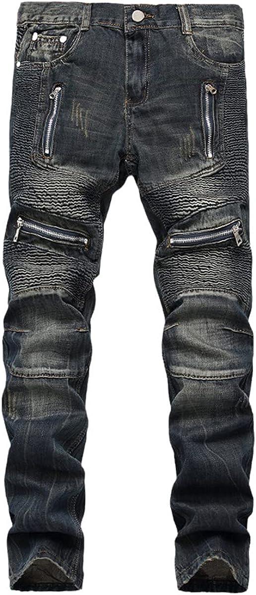 CACLSL Fashion Straight Men's Folded Jeans Punk Retro Motorcycle Zipper Pocket Motorcycle Pants Fashion Patchwork