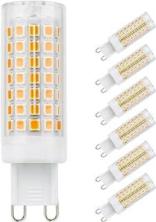 G9 bombillas LED, 6 unidades 5 W de ahorro de energía bombillas de luz no parpadeo, sin estroboscópica, 560LM, blanco cálido, AC 110 – 230 V
