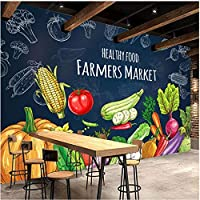 Lcymt カスタム3D写真の壁紙手描きの健康食品果物野菜壁画スーパーマーケットフルーツショップレストランの壁の装飾-250X175Cm