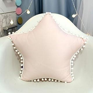 HEQIE-YONGP Almohada Nordic Cushion/Soft Fabric/Star Pillow/with Many Small Ball Pillow/Core Funda de Almohada incorporada/Fácil de Lavar 50 * 50cm (Color : Pink White)