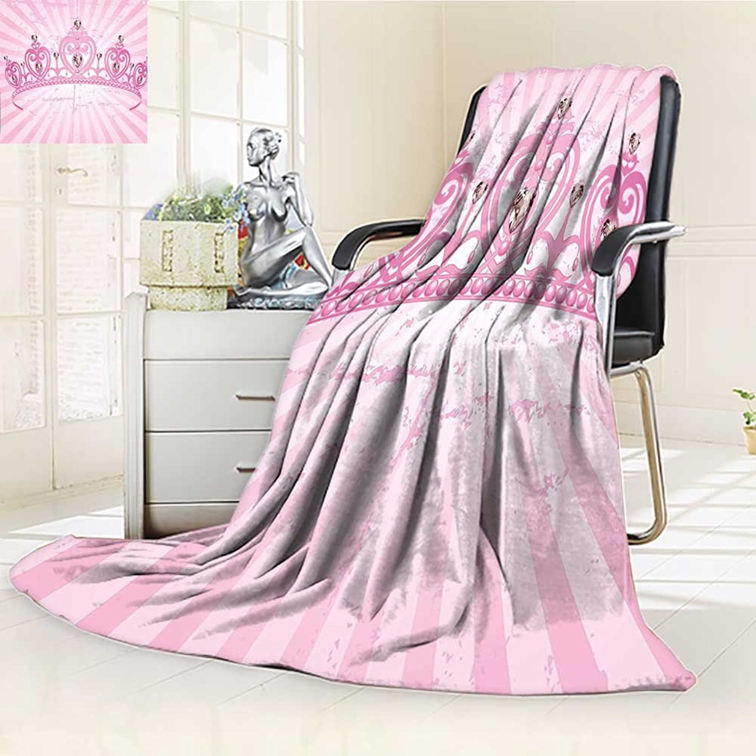 YOYIHOME Duplex Printed Blanket Warm Microfiber Pink Heart Shaped Princess Crown on Radial Backdrop Girls Room Pink Light Pink for Bed or Couch W47 x H59
