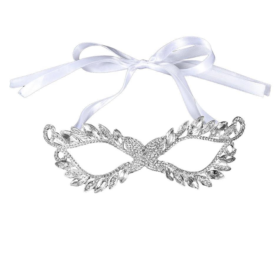 LUOEM Crystal Rhinestone Mask Wedding Bridal Mask Masquerade Eye Mask for Ball Wedding Prom Party Costume