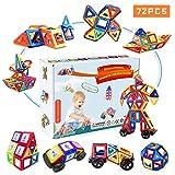 Fansteck Magnetische Bausteine, 3D Magnet Spielzeug Kinder, 72PCS Magnetbausteine Montessori, Magnetspielzeug Auto Flugzeug als Geburtstag Geschenk für Kinder Junge Mädchen ab 2 3 4 5 6 7 8 9 Jahre