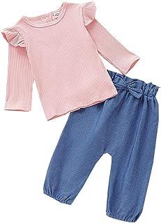 0-3 Años,SO-buts Bebé Niña Bebé Volantes Tops De Punto De Color Liso + Bowknot Jeans Pantalones Conjuntos Informal De Otoñ...