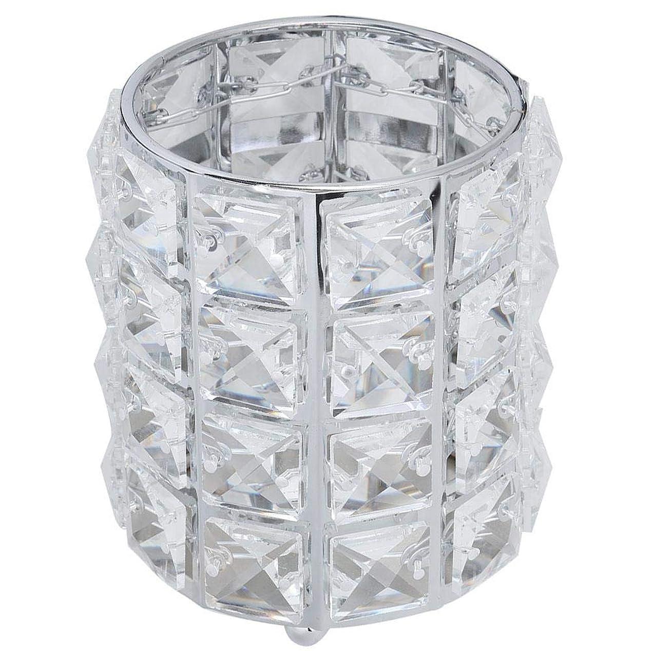 廃止ラバストレスの多いブラシ収納チューブ、金属クリスタル化粧ブラシ収納チューブ眉ペンシルジュエリー収納ボックス(銀色)