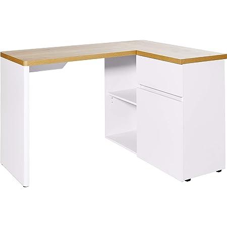 Marque Amazon -Movian Aulne - Bureau d'angle arrondi, 90x117x76cm, Blanc/finition chêne