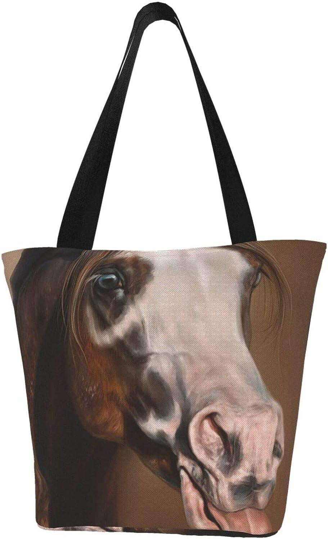 Naughty Cute Horse Sticking Tongue Themed Printed Women Canvas Handbag Zipper Shoulder Bag Work Booksbag Tote Purse Leisure Hobo Bag For Shopping