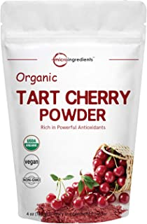Sustainably US Grown, Organic Tart Cherry Powder, 4 Ounce, Rich in Antioxidant, Uric Acid anbd Flavonoids, Enhance Joint Health, Sleep Cycles and Muscle Recovery, No GMOs and Vegan Friendly