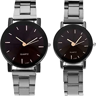 His and Hers Valentine Day Gift Couples Watches All Black Bracelet Watch Simple Elegant Design