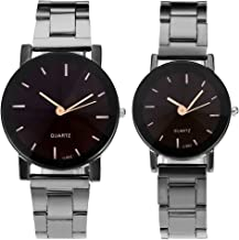 Top Plaza His and Hers Couples Watches All Black/Brown Bracelet Watch Simple Elegant Design