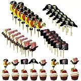 Simon Lee Woodham 48 Stück Piraten kuchendeckel, Pirate Kuchen Topper Cupcake, für Kinder Geburtstag, Halloween, Fotohintergründe und Requisiten, Partydekoration