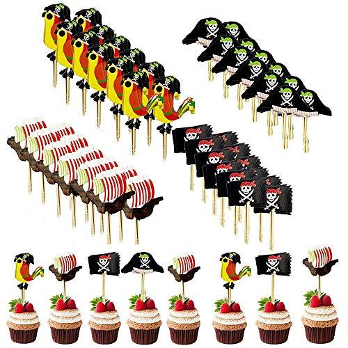 Simon Lee Woodham 48 Pezzi Toppers Torta Pirata, Cupcake Topper Pirati Decorazione, per Bambini Compleanno, Halloween, Fondali e Oggetti Fotografici, Decorazione per Feste