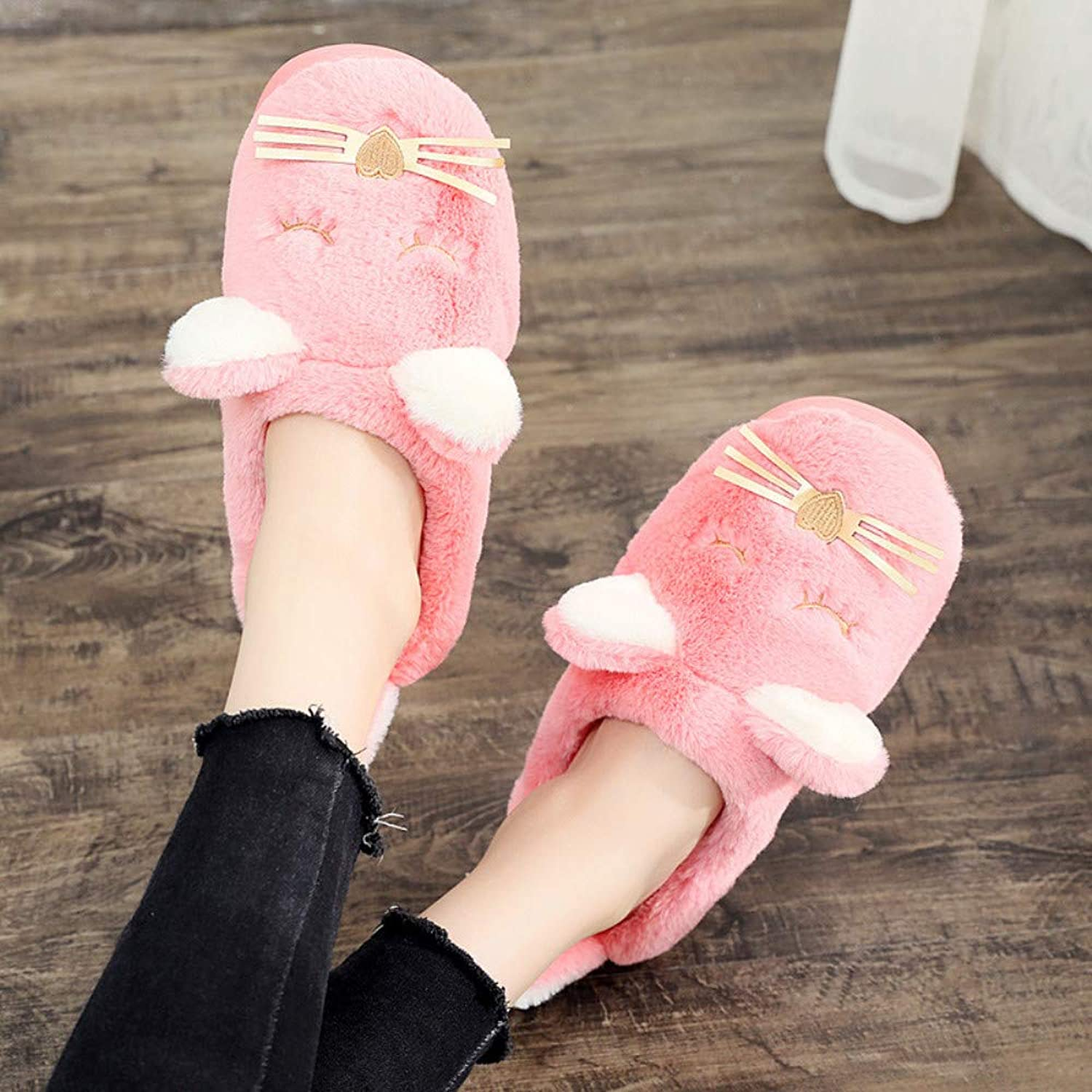 Women Plush Home Slippers Cute Cat Indoor Winter Cotton Slippers