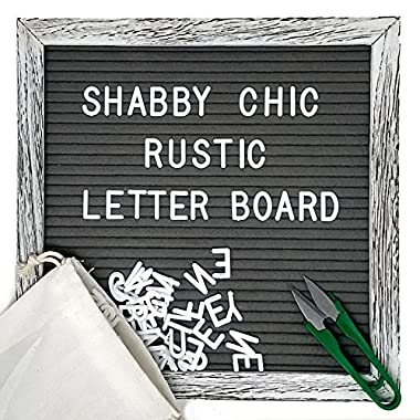 Felt Letter Board Set with 10x10 inch, Shabby Chic Farmhouse Rustic Wood Frame, Gray Felt, Changeable Message with 370 White Letters, Emojis, Wall Hook, Canvas Bag, Stand and Scissors