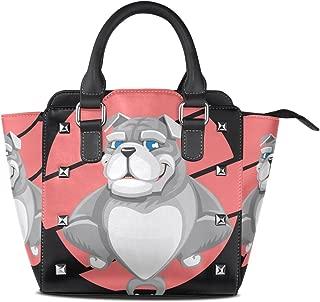Cartoon Bully Pitbull Leather Handbags Purses Shoulder Tote Satchel Bags Womens