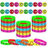 40 Pieces Smile Face Stress Balls and Smile Face Silicone Bracelets Wristbands for Stress Relief