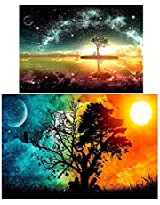 Goolsky Diamond Painting 2 قطعة DIY 5D Drill Diamond Painting Needlework Crystal Painting Rhinestone Cross Stitch Mosaic Painting Art Craft for Home Wall Decoration