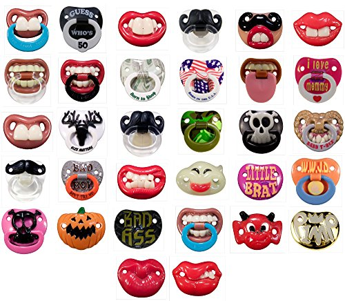 6 Pack- 6 Random Assorted Billy Bob Teeth Baby Pacifiers, Includes 6 BPA Free Pacifiers, Only Pacifier Brand with Personality!! Bulk Pack