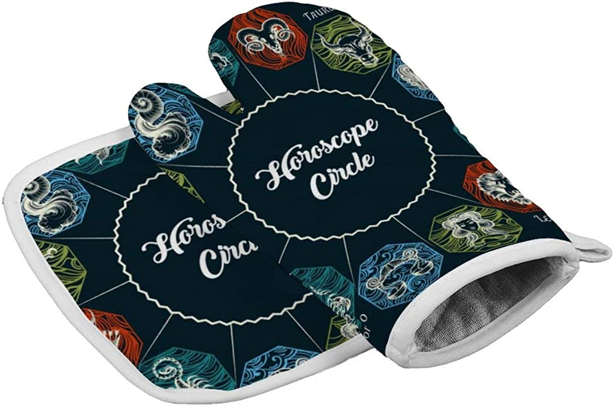 Gloves Symbols Of Zodiac And Horoscope CircleOven Mitts Professional Heat Resistant To 500 C Thickening Version Non Slip Kitchen Oven Gloves For Cooking Baking Grilling Barbecue Potholders