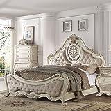 ACME Furniture 27007EK Ragenardus Bed, Eastern King, Fabric/Antique White