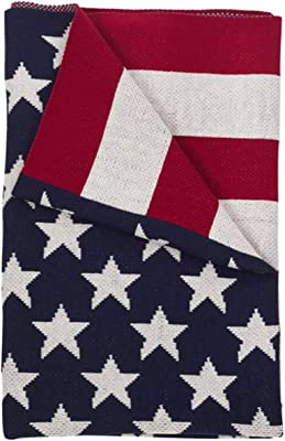 """Fennco Styles Red White and Blue US Flag Design Soft Throw Blanket - 50"""" W x 60"""" L"""