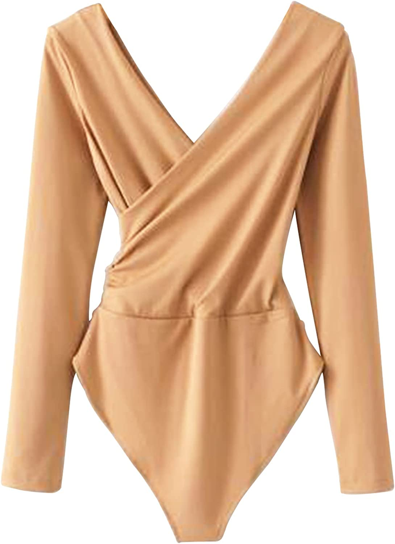 Champagne lady's bodysuit,Ribbed Crisscross Surplice Bodysuit