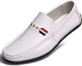 [QIFENGDIANZI] ドライビングシューズ メンズ ホワイト ブラウン イエロー ブラック おしゃれ 紳士靴 スリッポン 快適 ソフト コンフォート 24.0cm-27.0cm