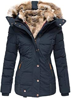MU2M Mens Thick Faux Fur Hoodie Quilted Padded Puffer Coat Parka Jackets
