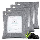Bamboo Charcoal Air Purifying Bag 4 Pack - Natural Activated Charcoal Bags Odor Absorber for Home and Car - Kid and Pet Safe - Charcoal Air Purifier Bags by Home Sloth