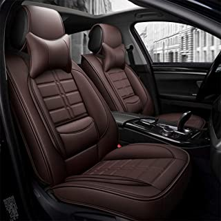 Tuhu-auto Car Seat Cover Artificial Leather Interior Accessories Wear Resistant Comfortable Women Pet Dog for Sedan SUV Pickup Truck (Brown)