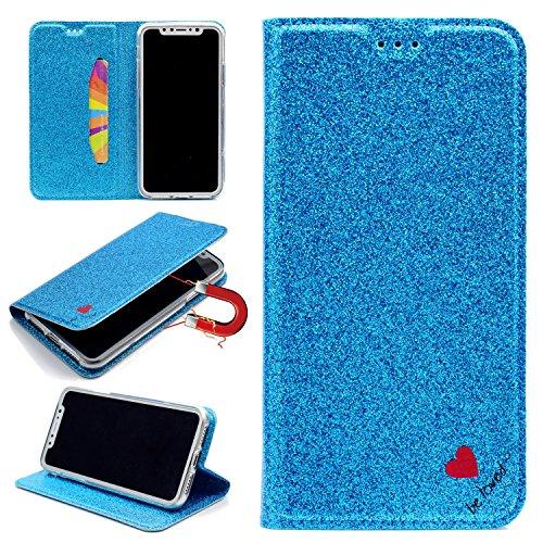 Sycode Briller Coque pour iPhone X,Portefeuille Coque pour iPhone X,Glitter Amour Cœur Cuir Portefeuille Coque pour iPhone X-Bleu