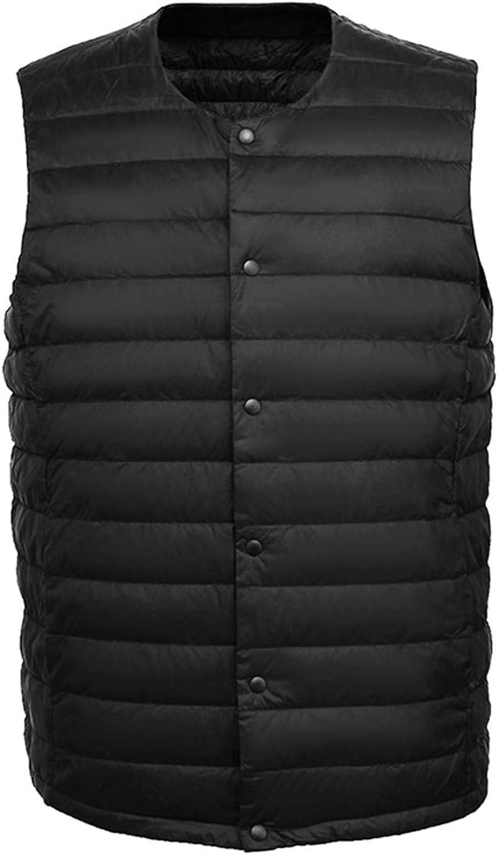 EQKWJ Men Vest Ultra Light Down Waistcoat Portable Sleeveless Coat Man Winter Round Collar Warm Liner