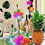 "Kuuqa 60 Stück Tropical Party Dekoration liefert 8 ""Tropical Palm Monstera Blätter und Hibiskusblüten, Simulation Blatt für hawaiische Luau Party Jungle Beach Thema Tischdekoration - 2"