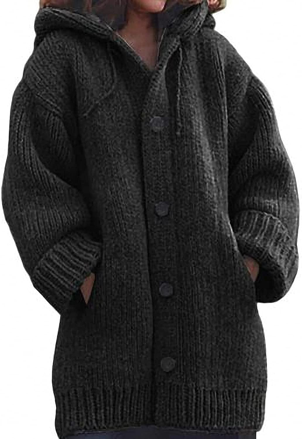 Barsly Women Thick Sweater Coat Warm Knit Outerwear Autumn Winter Long Hooded Cardigan Lady Clothing