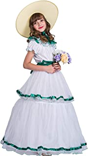 Christmas Costume Southern Belle Dress with Hat Beautiful Party Costume for Girls Kids