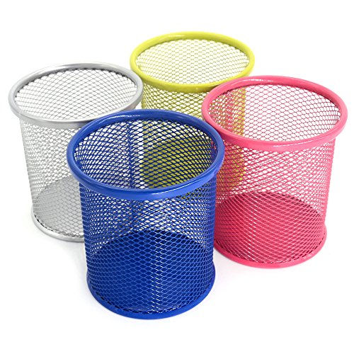 Pen Holder Mesh Pencil Holder Metal Pen Holder for Desk Office Pen Organizer- Medium Sized Colorful Pen Cup Pencil Cup 4 Pack (4 Colors)