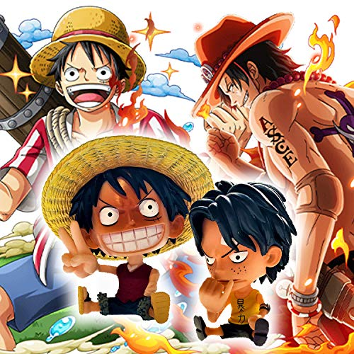 Anime One Piece Chibi Monkey D. Ruffy und Portgas D. Ace Figur Set Resin-Spielzeug-Dekoration / 10CM