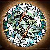 ACHNC Tiffany Estilo Lámparas de Techo Libélula,Vintage Luz de Techo Cocina Montaje Empotrado E27 Plafón Retro con Pantalla Vidrieras,Sala De Baño Salon Dormitorio Restaurante Ceiling Lamp,Azul,40CM