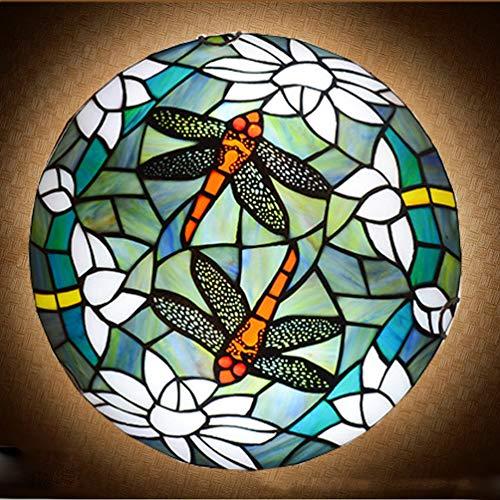 ACMHNC Tiffany Estilo Lámparas de Techo Libélula,Vintage Luz de Techo Cocina Montaje Empotrado E27 Plafón Retro Con Pantalla Vidrieras,Sala De Baño Salon Dormitorio Restaurante Ceiling Lamp,Azul,40CM