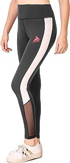 Fitinc Lycra Black Stylish Leggings for Girls/Women with Both Side White Stripe & Black Net Design