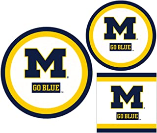 Michigan Wolverines Party Supplies - Bundle Includes Paper Plates and Napkins for 10 People