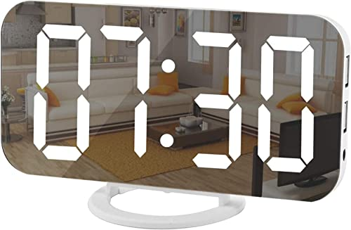 Digital Clock Large Display, LED Electric Alarm Clock Mirror Surface for Makeup with Diming Mode, 3 Levels Brightness...