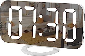 Digital Clock Large Display, LED Electric Alarm Clock Mirror Surface for Makeup with Diming Mode, 3 Levels Brightness, Dua...