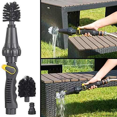 Royal Gardineer Felgenbürste: Rotierender Reinigungsbürsten-Aufsatz für Gartenschlauch, regulierbar (Waschbürste)