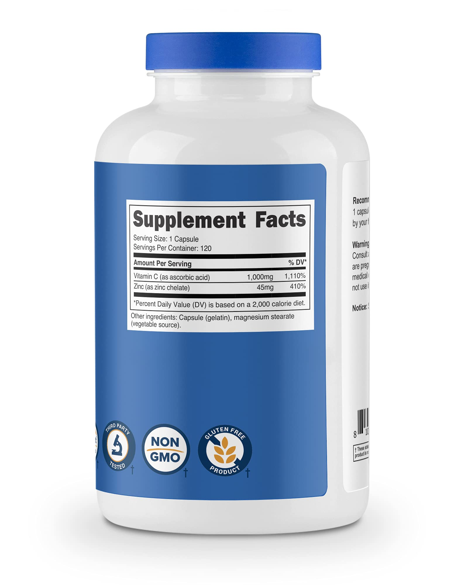 Nutricost Vitamin C with Zinc Capsules, 120 Servings - 1000mg Vitamin C, 45mg Zinc, Non-GMO, Gluten Free Vitamin C Supplement