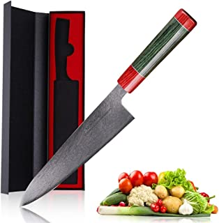 Couteau damas Mokithand japonais Damas Couteaux de cuisine haut carbone 8 pouces Couteau de cuisine en acier inoxydable Vi...