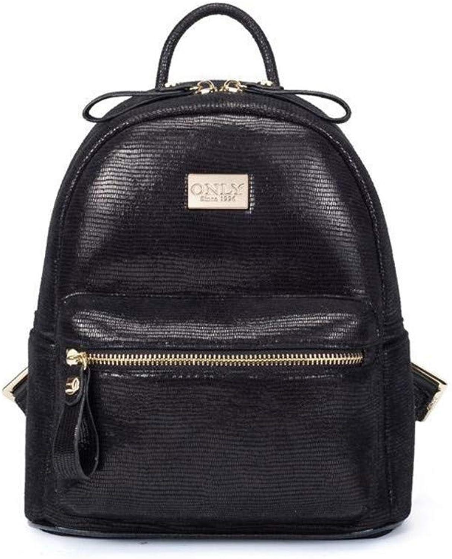 Casual Daypacks, Backpack Female Leather AntiTheft LargeCapacity Leisure Bag to Work Travel Bag Backpack (18.5 × 14.5 × 25.5CM) (color   Black)
