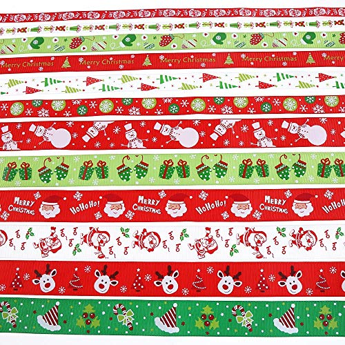 12 Pieces Christmas Ribbon 24 Yards Grosgrain Satin Fabric Xmas Ribbons for Crafts Decoration Holiday Box Gift Wrapping and Sewing(1inch,0.6inch 0.4inch)