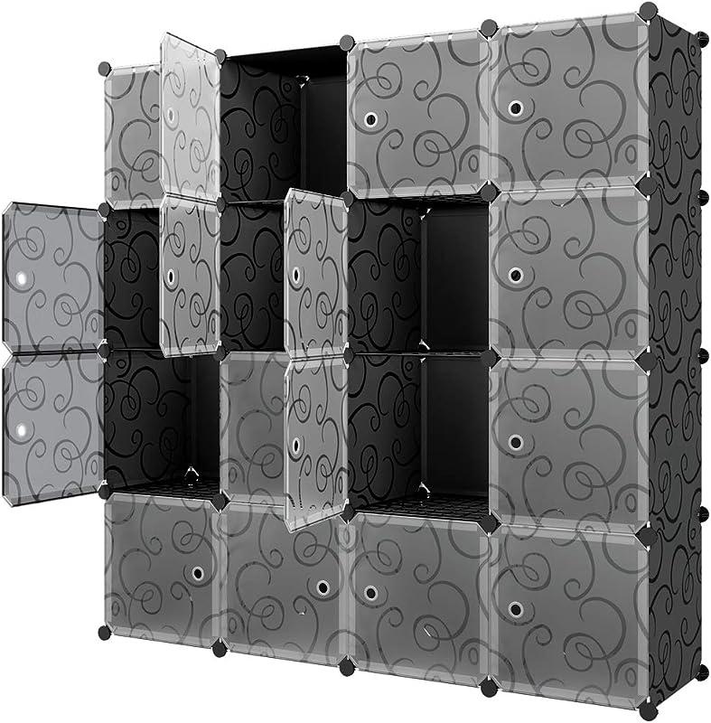 KOUSI Storage Cubes 14 X14 Cube 16 Cubes Cube Organizer Cube Storage Storage Cabinet Cubbies Shelves Cube Shelf Room Organizer Clothes Storage Cubby Shelving Bookshelf Storage Shelves Black
